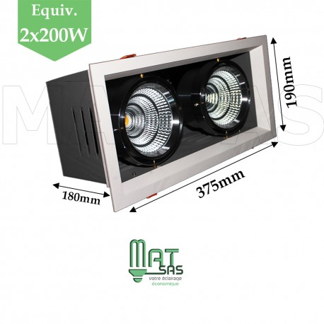 Projecteur encastrable 2 X 25W orientable blanc neutre