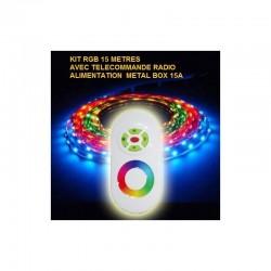 Kit ruban LED 15 métres 5050 / 60 RGB (multi couleur) IP65 avec télécommande radio