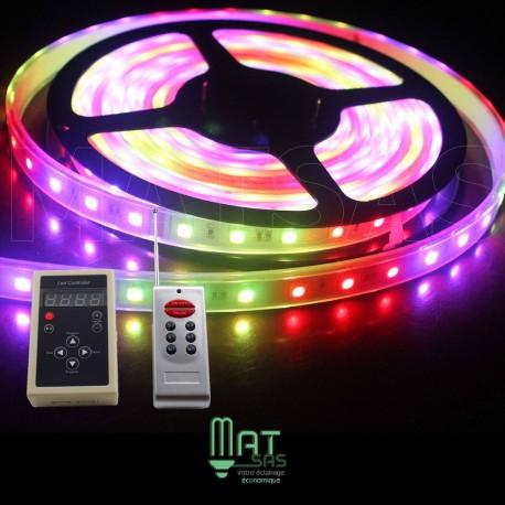 "Kit Ruban LED 5050 ""6803 Magic LED "" 5 Mètres RGB Étanche avec Télécommande"