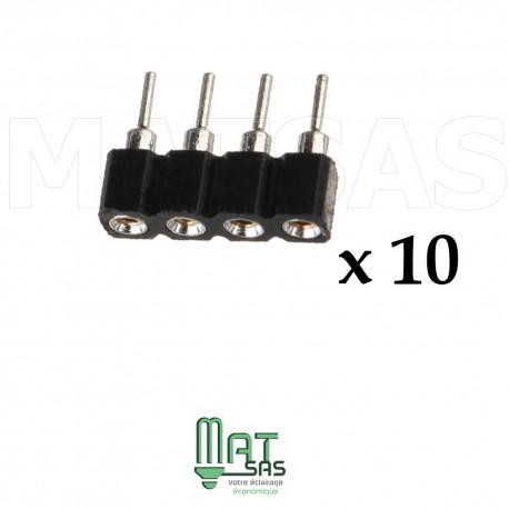 Sachet de 10 pièces connecteur RGB male femelle 4 broches pour 5050 et 3528