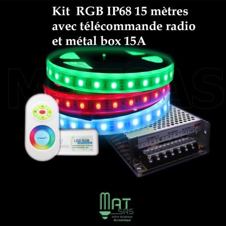 Kit ruban LED 15 métres 5050 / 60 RGB (multi couleur) étanche IP68 avec télécommande radio