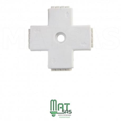 Raccord croix pouvant connecter 2 rubans LED RGB entre eux 5050 ou 3528