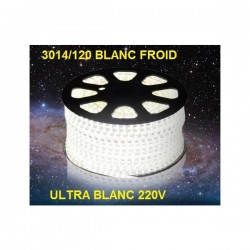 Strip LED EPISTAR 3014/120 en 25 ou 50 mètres ultra blanc Froid étanche (IP68)