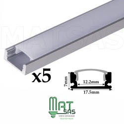 Profilé aluminium 5 Mètres ( 5 x 1 mètre ) avec diffuseur opaque