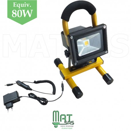 Projecteur rechargeable portable LED 10W Blanc Froid