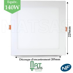 Downlight LED 18W extrat plat carré