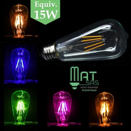 Ampoule LED E27 vintage 4W en Rose, Bleu, Vert, Jaune et Blanc Chaud