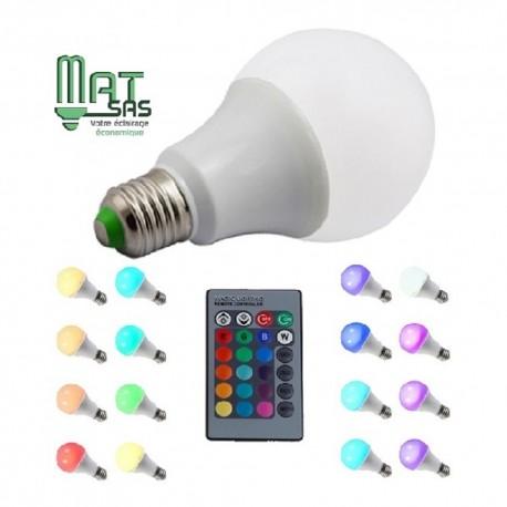 Ampoule E27 RGB (multi couleurs) 10W avec télécommande