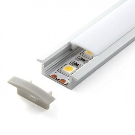 Profilé aluminium encastrable 2 Mètres avec diffuseur opaque