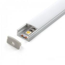Profilé aluminium en U 2 Mètres avec diffuseur opaque