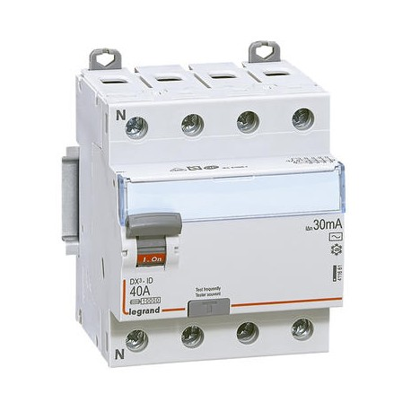 Interrupteurs différentiels Legrand DX3 id 4p 400v 40A type AC 30ma