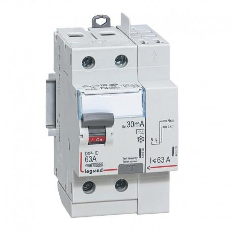 Interrupteurs différentiels Legrand DX3 id 2p 230v 63A type AC 30ma vis et automatique