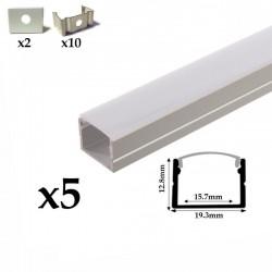 Profilé aluminium pour strip LED 220V 5 Mètres ( 5 x 1 mètre ) avec diffuseur opaque aspect néon.