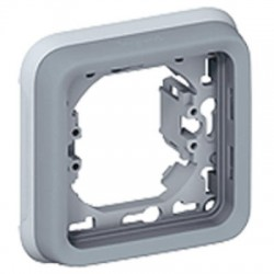 Support plaque 1 poste Plexo composable IP55 - gris