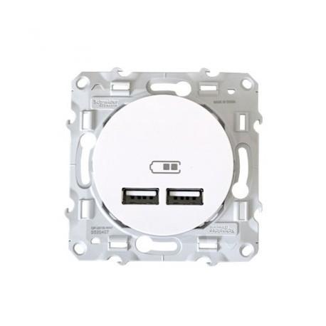 Prise USB double blanche Schneider