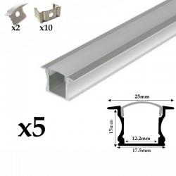 Profilé aluminium 5 Mètres encastrable ( 5 x 1 mètre ) avec diffuseur opaque aspect néon.