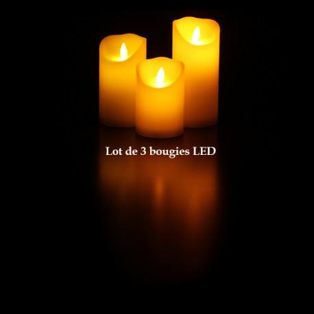 Lot de 3 Bougies LED Scintillantes en Cire