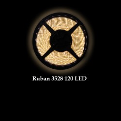 Ruban LED 3528 / 120 LED mètre blanc chaud pour intérieur (IP65)