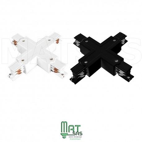 X croix pour raccord rail Triphasé blanc ou noir