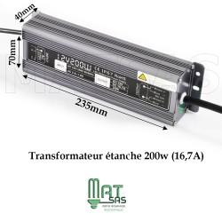 Transformateur étanche 12V 200 Watt