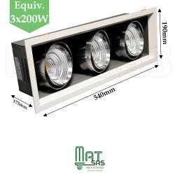 Projecteur encastrable 3 X 25W orientable blanc neutre