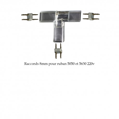 Adaptateur d'angle en T 8mm pour ruban LED 5050 ou 5630 (25 ou 50 mètres)