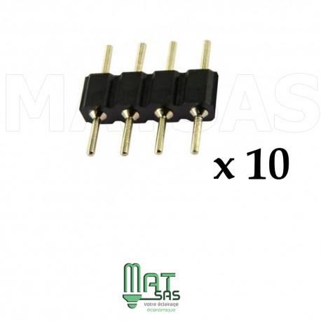 Sachet de 10 pièces connecteur RGB male male 4 broches pour 5050 et 3528
