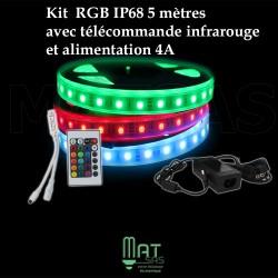 Ruban LED 5050 / 60 RGB (multi couleur) IP68 étanche longueur 5 mètres