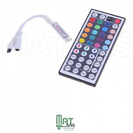 Mini controleur extra plat avec grande télécommande infrarouge pour RGB 5050 ou 3528