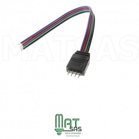 Raccord avec fil avec connecteur male pour 5050RGB