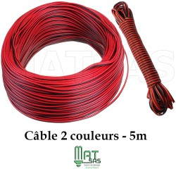 Cable 5 mètres pour rallonge ruban mono couleur