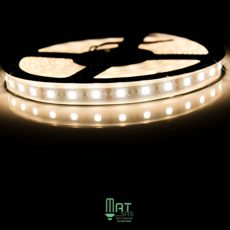 Ruban LED 5050 / 60 LED mètre blanc chaud étanche (IP68) longueur 5 mètres