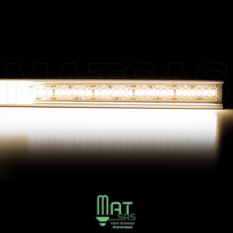 Kit ruban LED 3014/244 blanc chaud 30w mètre avec profilé aluminium et alimentation métal box longueur 5 mètres