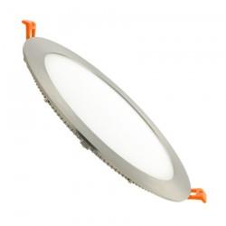 Downligth LED Ronde Extra Plate 18W contour argenté Ø225x20 mm