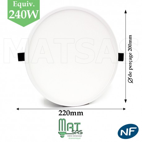Downlight LED 30W extrat plat blanc neutre ou froid
