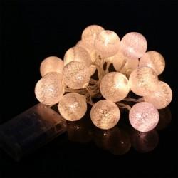 Guirlande LED aspect coton blanc chaud 2,5 mètres 20 boules (à piles)