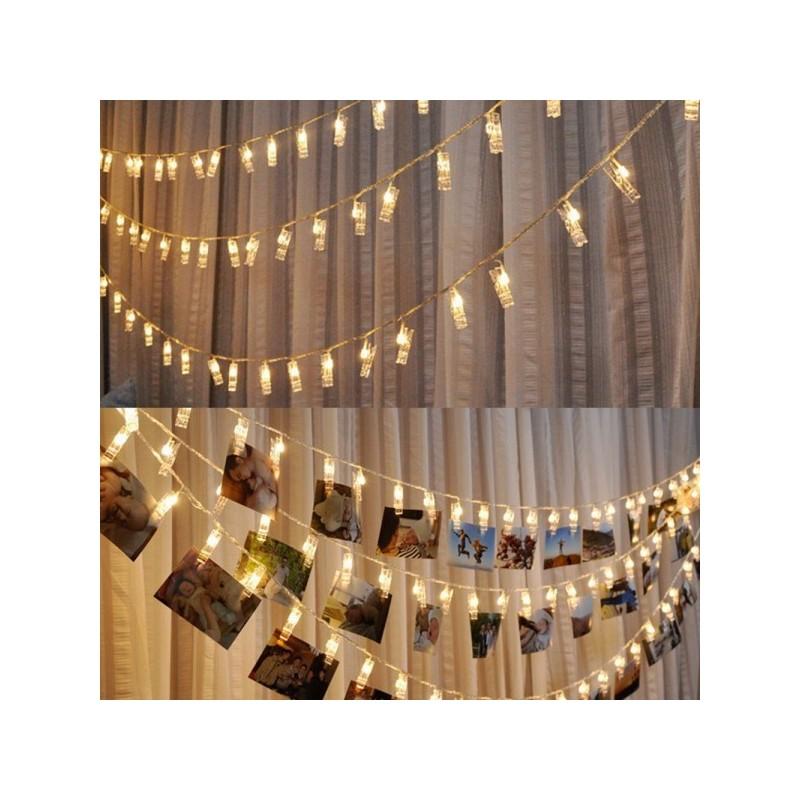 Guirlande led avec 40 pinces linges transparentes 5 - Guirlande porte photo avec pinces linge ...